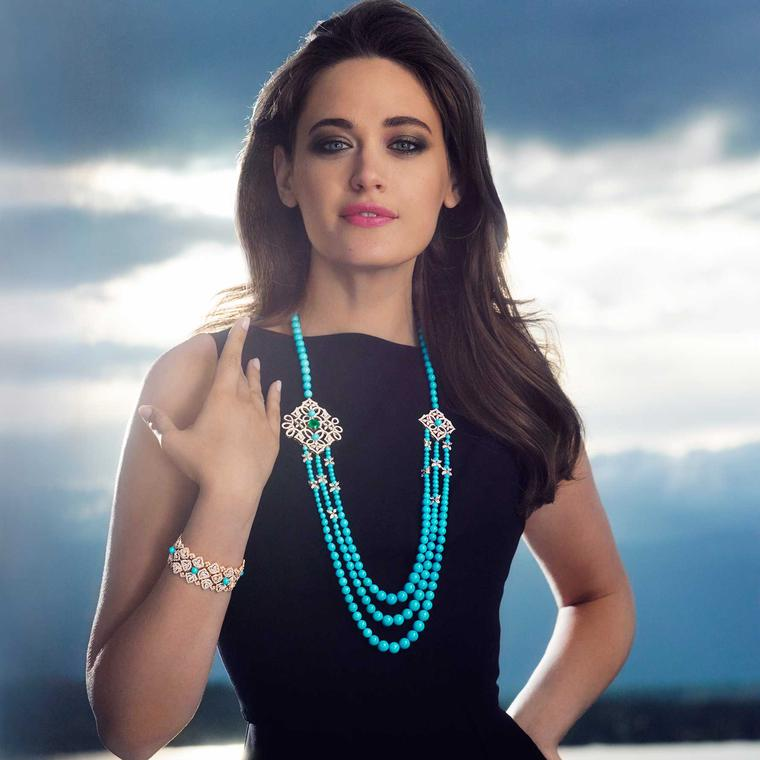 Piaget model wearing turquoise necklace and bracelet