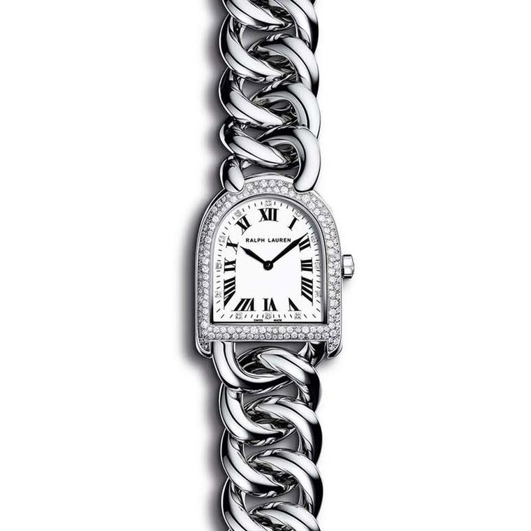 Ralph Lauren Petite Stirrup Link watch with a chain link bracelet and snow-set diamond bezel (£4,250).