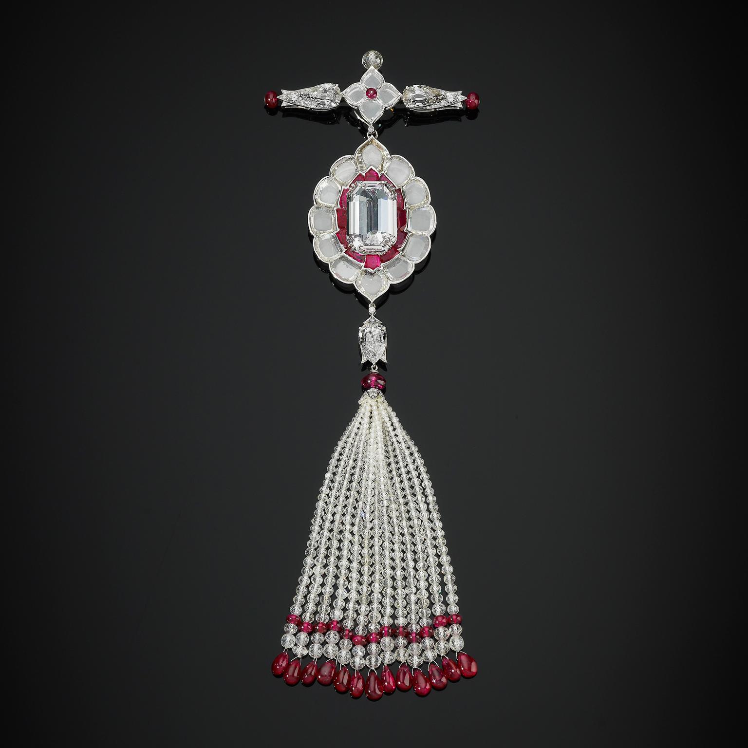 Bhagat Indian pendant brooch with diamonds and rubies
