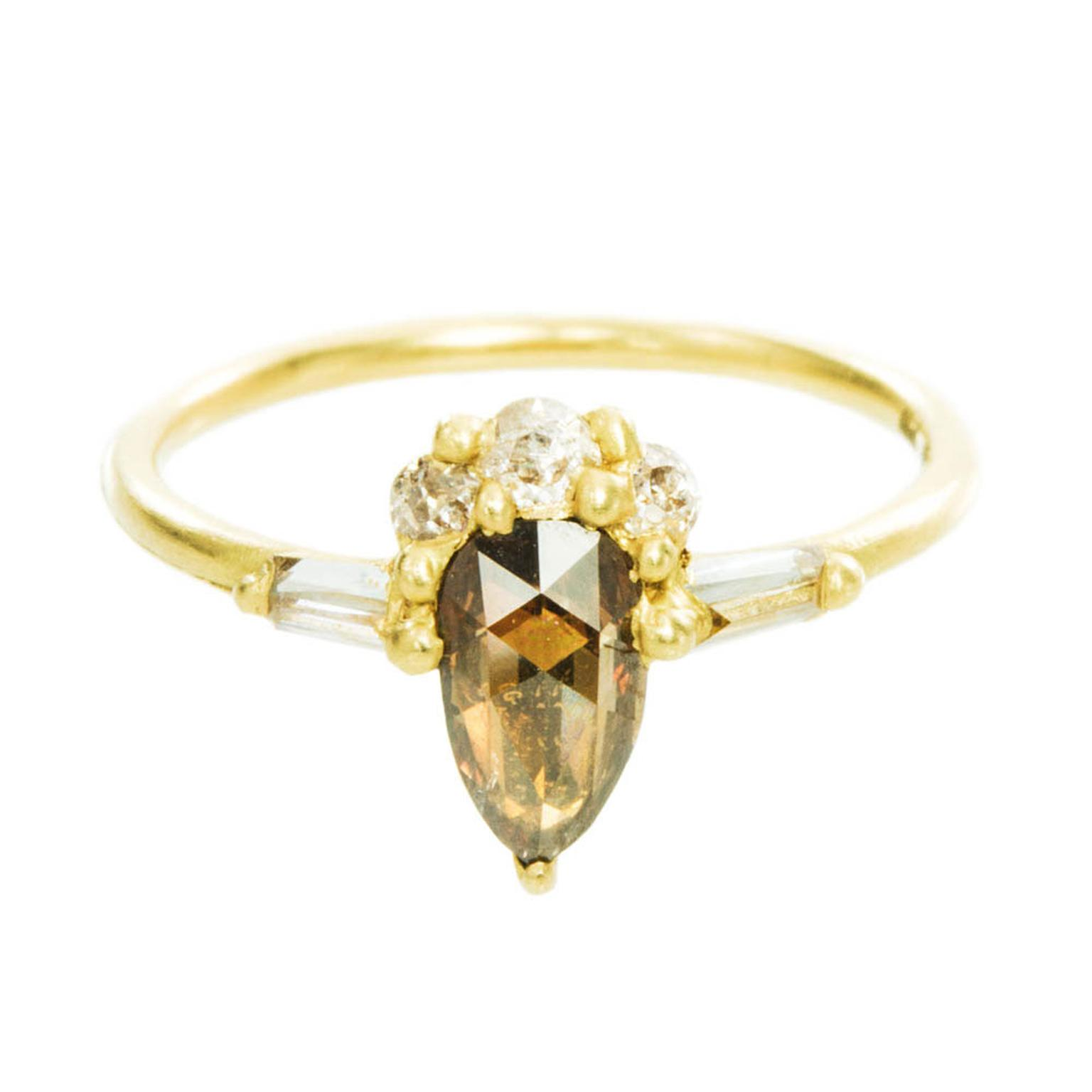 Polly Wales cognac diamond engagement ring