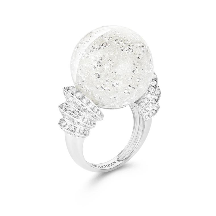 Hiver Impérial Boule de Neige rock crystal and diamond ring