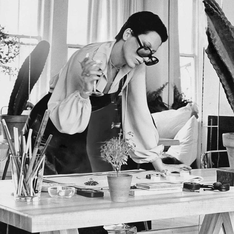 Portrait of Elsa Peretti in the design studio in 1974
