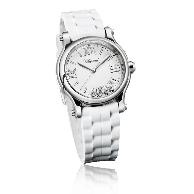 Chopard Happy Sport watch with white strap and diamonds