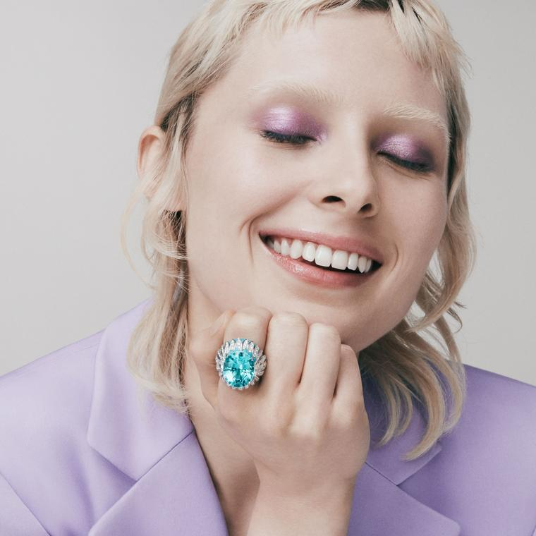 Azure cocktail ring by David Morris on model