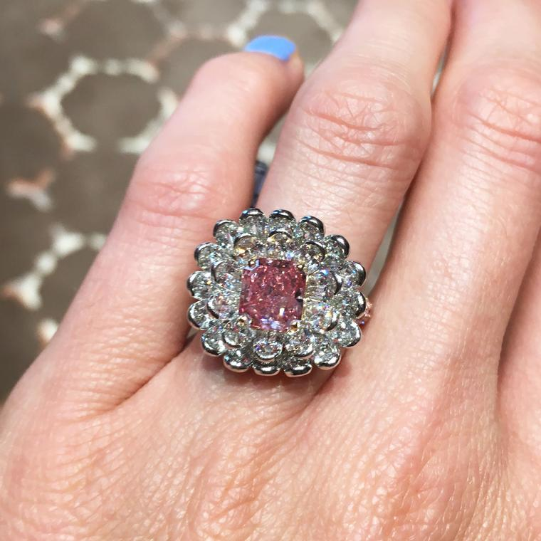David Morris 2.01-carat Fancy Vivid pink diamond ring