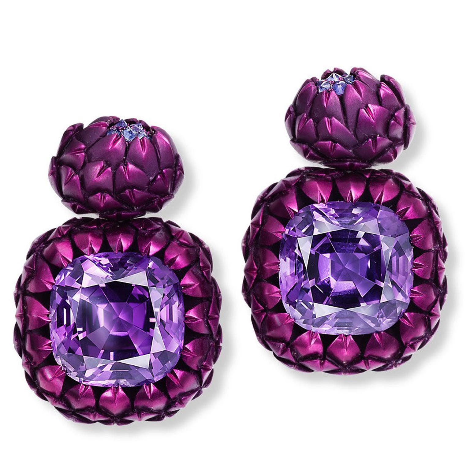 Hemmerle artichoke amethyst and sapphire aluminium earrings