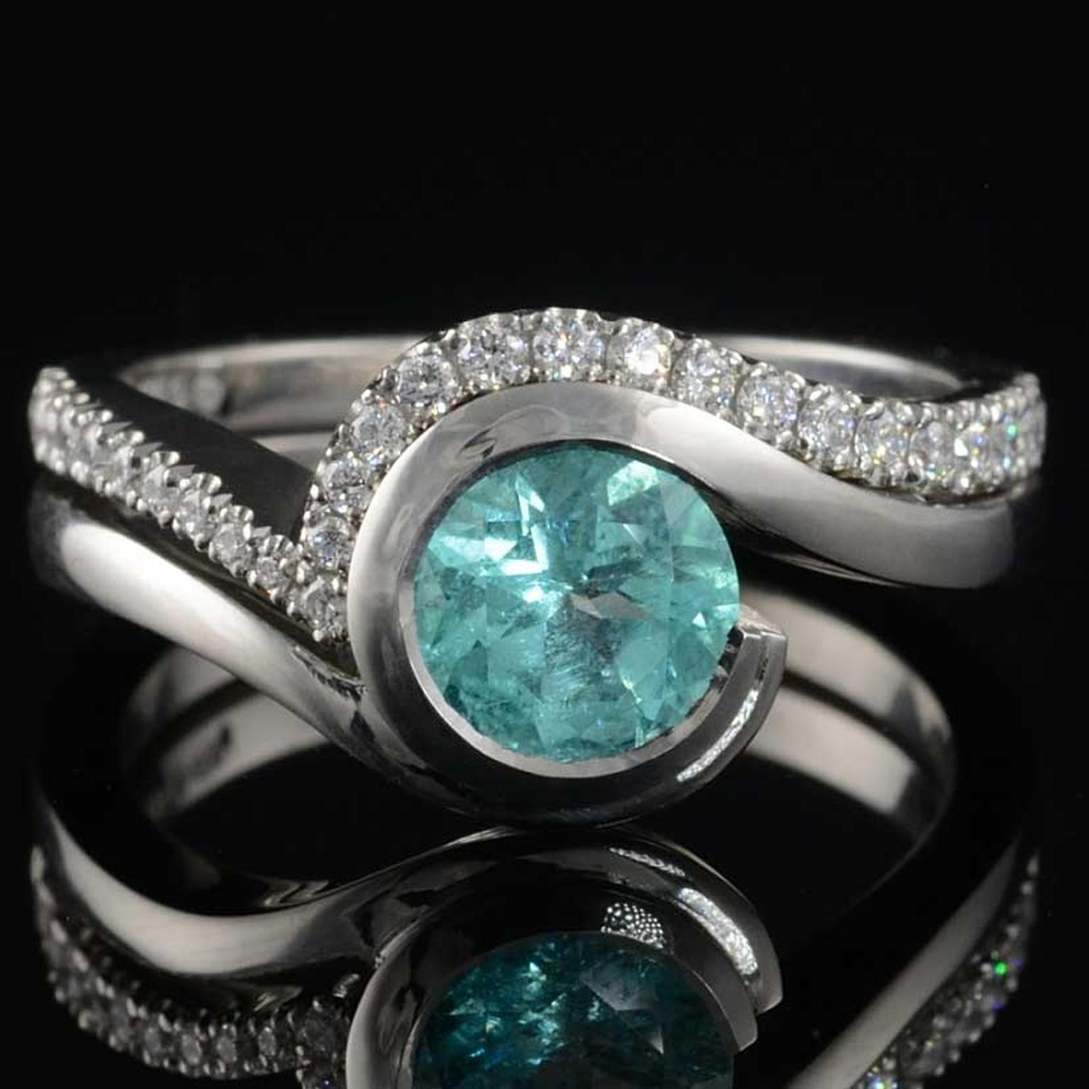 McCaul Goldsmiths Paraiba tourmaline engagement ring with matching diamond wedding band