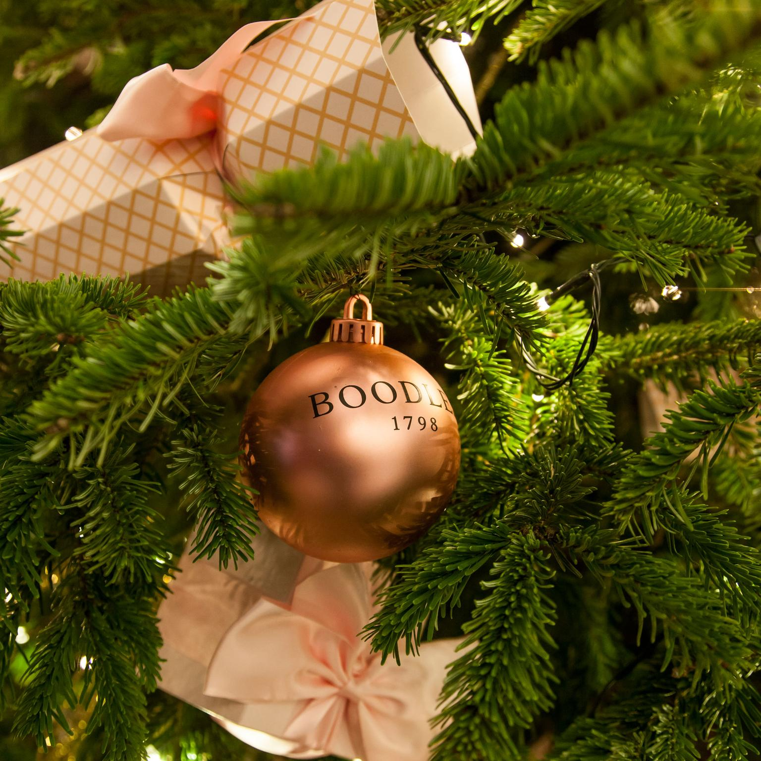 Boodles Christmas Bauble on the tree at the Savoy