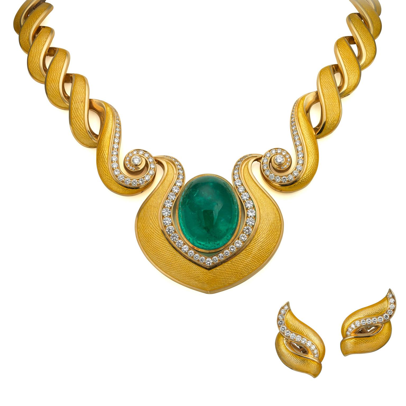 De Vroomen emerald necklace and earclips