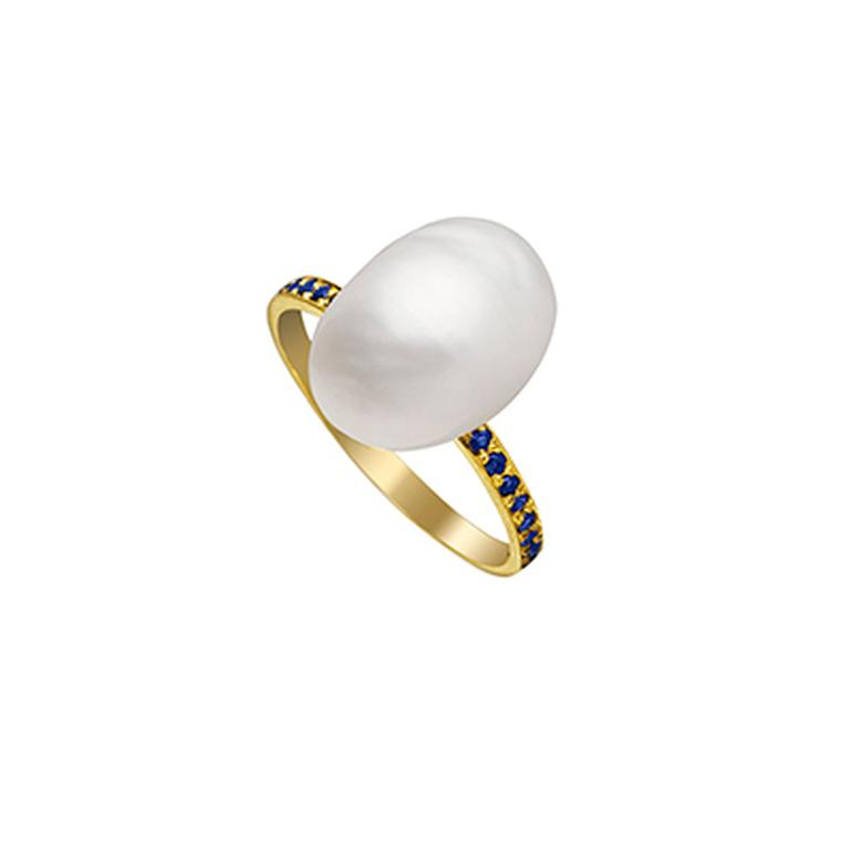 Halleh keshi pearl ring with sapphires