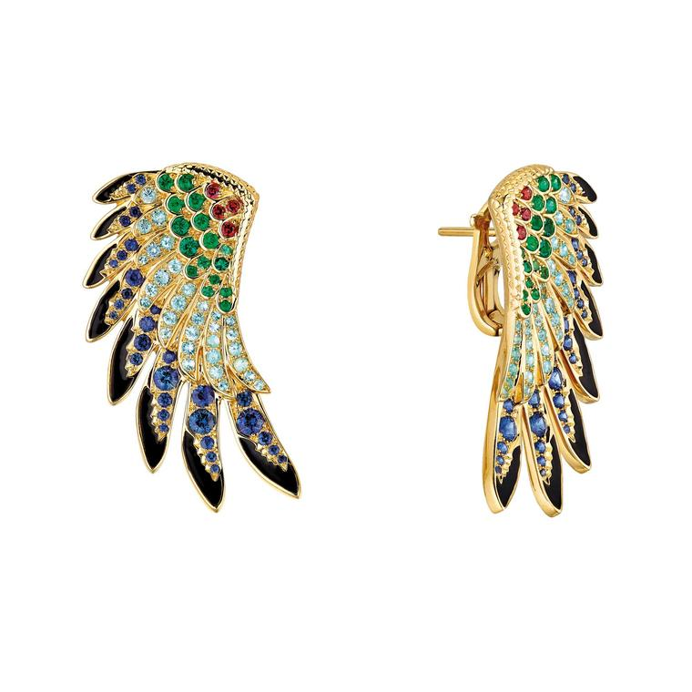 Lalique Perroquet parrot wing earrings