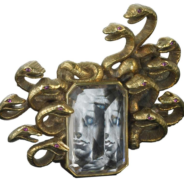 Medusa Brooch, Dali and Verdura, 1941, Morganite, ruby, gold and ivory
