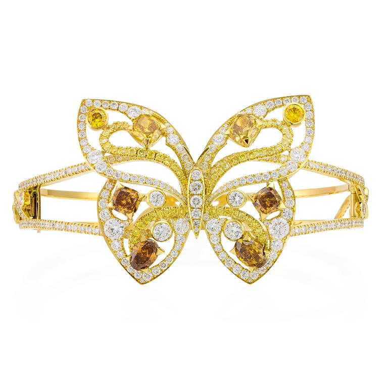Papillon coloured diamond cuff