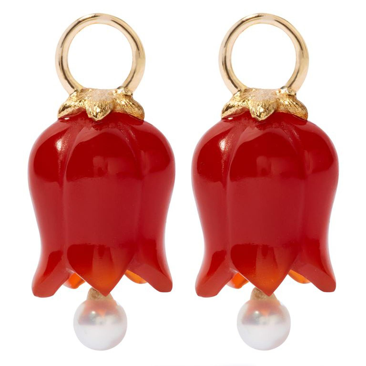 Annouska Yellow Gold, Red Agate and Pearl Tulip Earrings