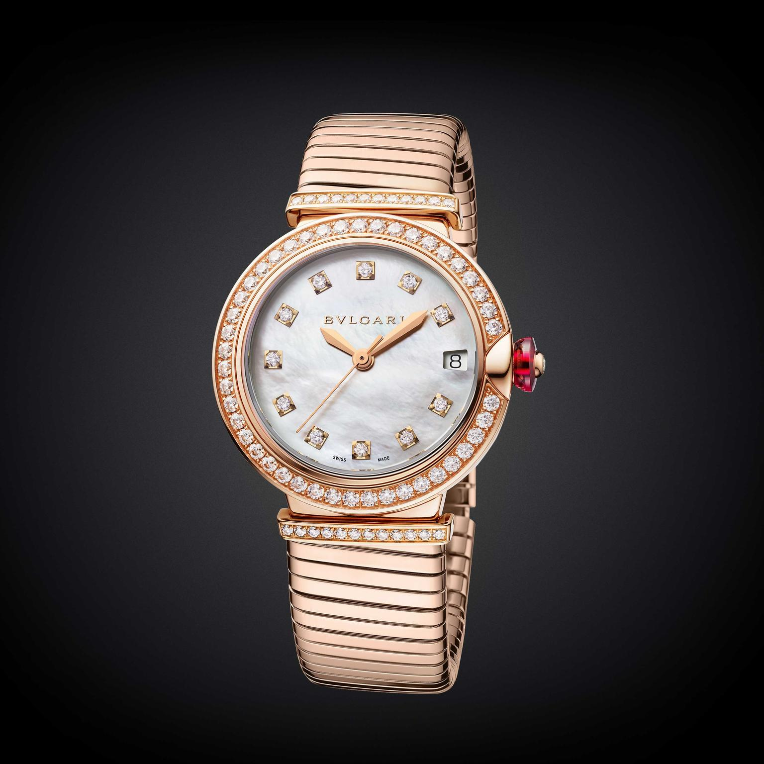 Bulgari Lvcea Tubogas 33mm rose gold and diamond automatic women's watch 2018 Price €37,500