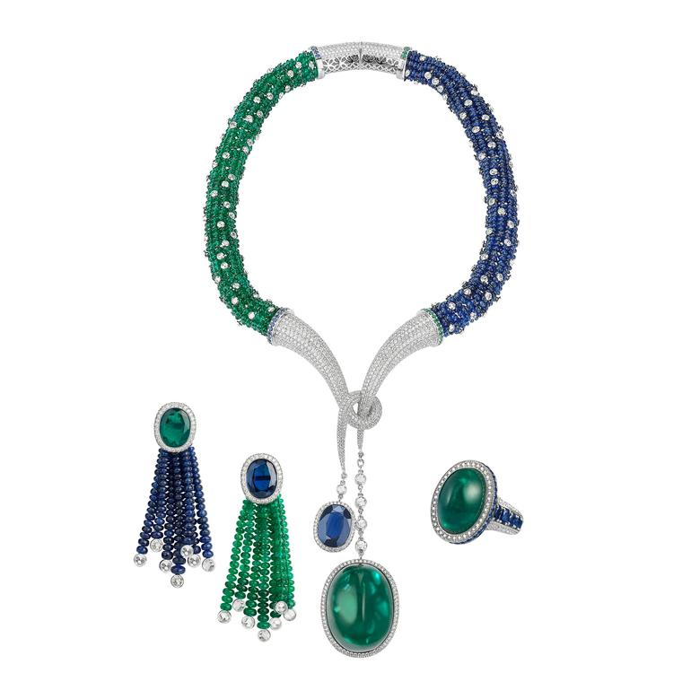 Avakian Emerald cabochon and sapphire suite
