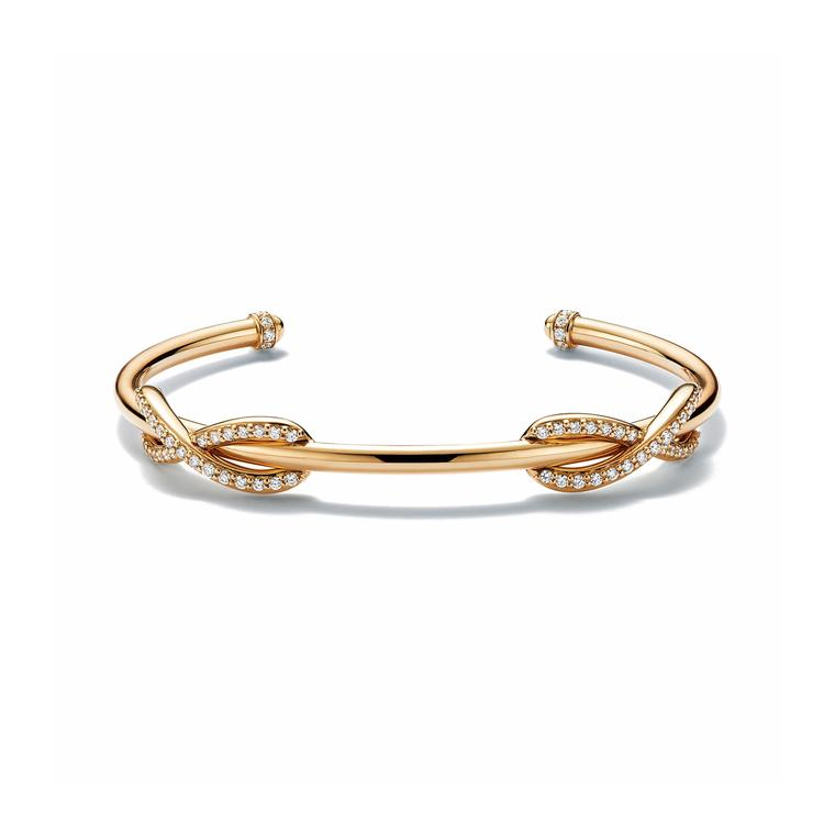 Infinity yellow gold and diamond cuff