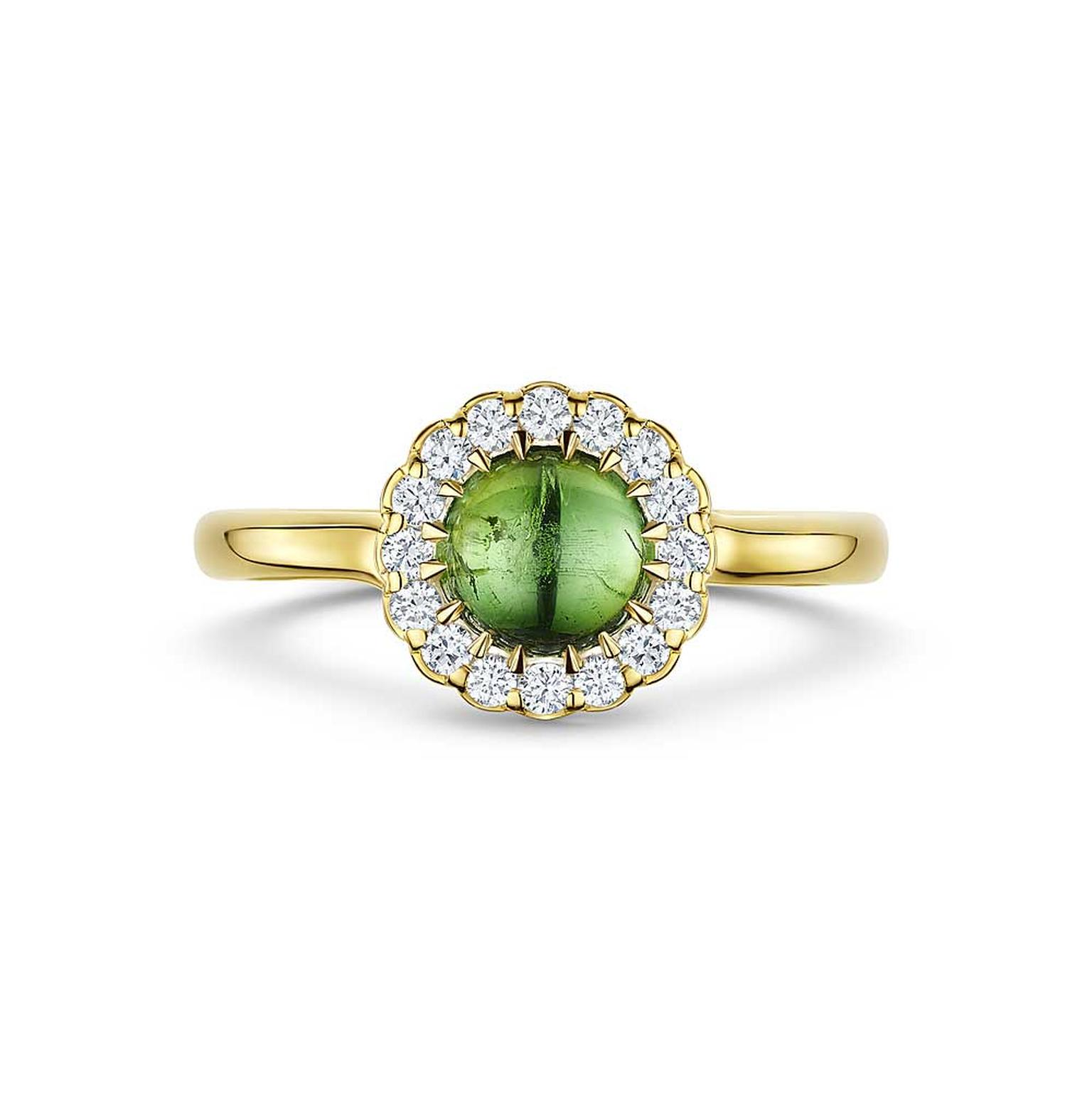 Andrew Geoghegan Cannele Twist cabochon tourmaline ring in 18ct yellow gold with diamonds