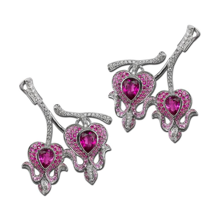 Morphée Bleeding Hearts rubellite, tourmaline, sapphire and diamond earrings