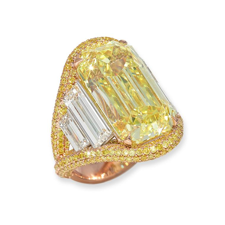 David Morris baguette-cut yellow diamond ring
