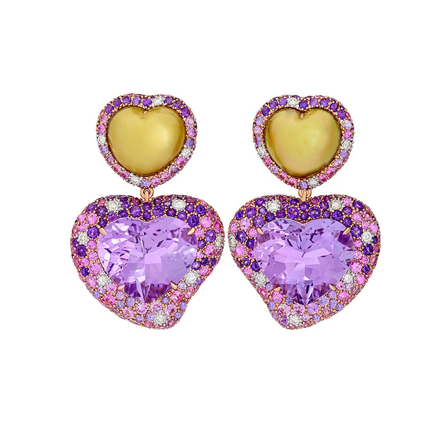 Margot McKinney Hearts Desire Rose de France Amethyst Earrings