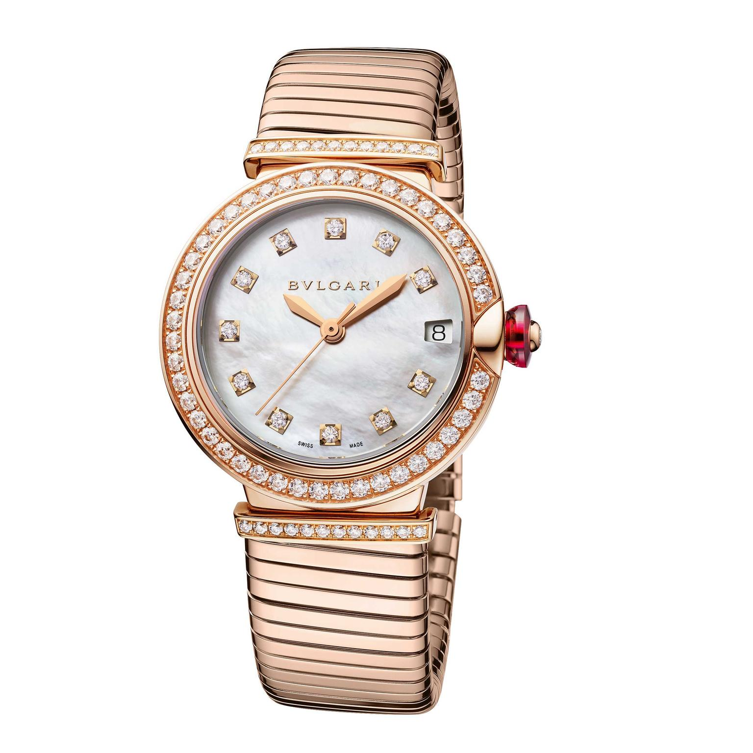 Bulgari Lvcea Tubogas 33mm rose gold and diamond automatic women's watch 2018