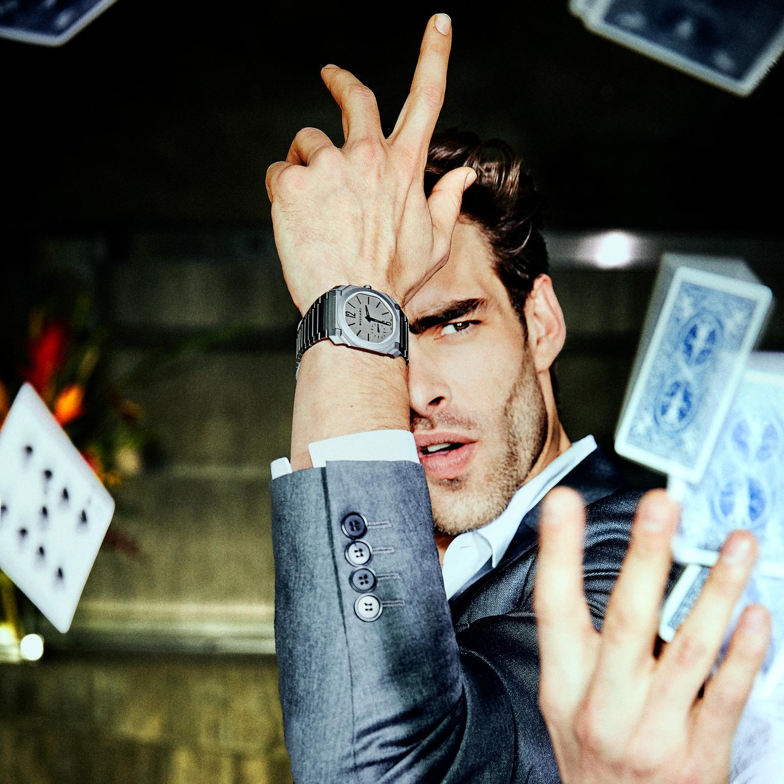 Jon Kortajarena wearing Bulgari's Octo Finissimo Automatic watch