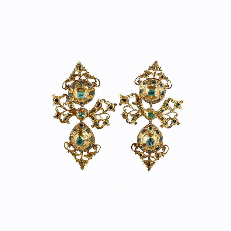 Bell and Bird Iberian emerald earrings