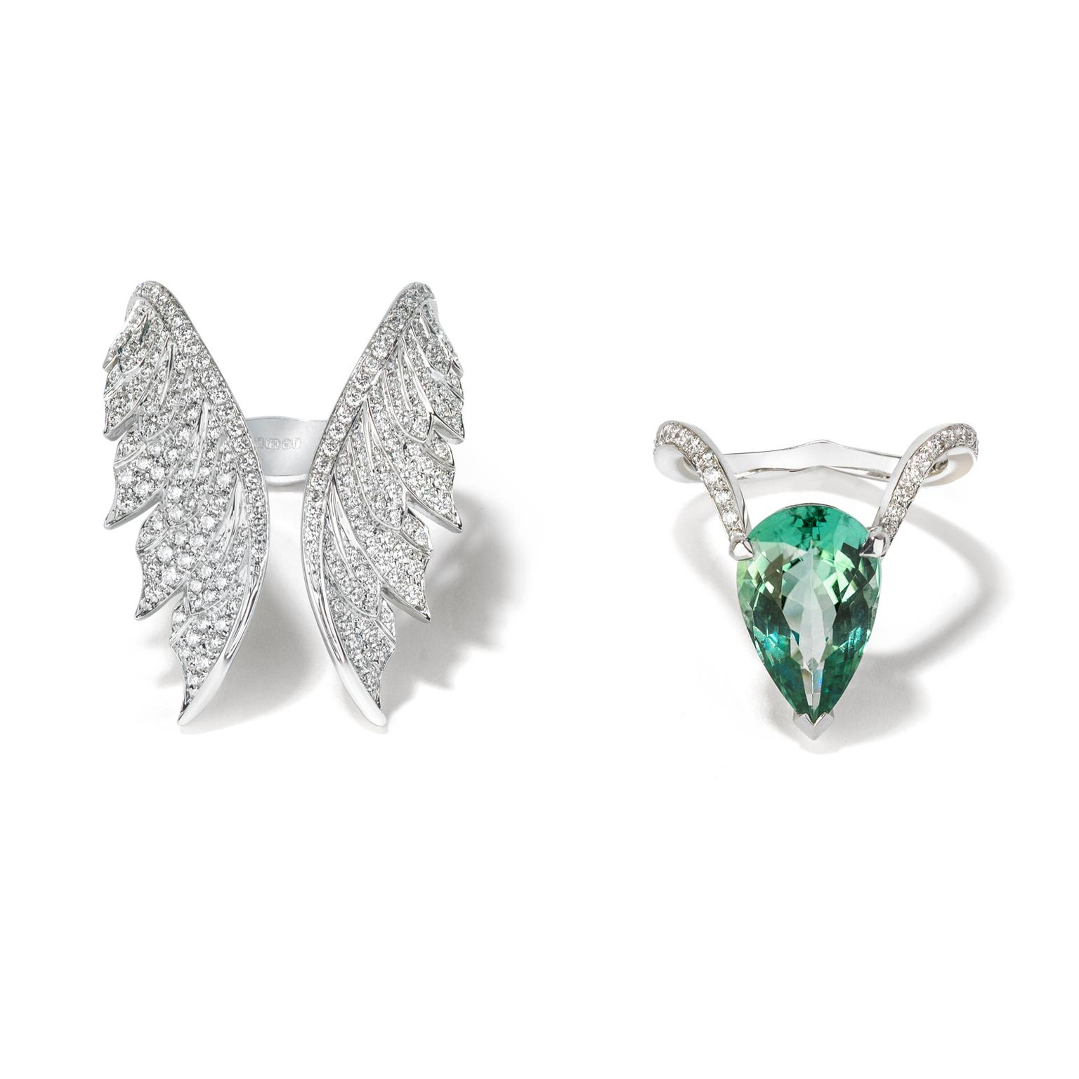 Stephen Webster Magnipheasant tourmaline cocktail ring with open feather ring