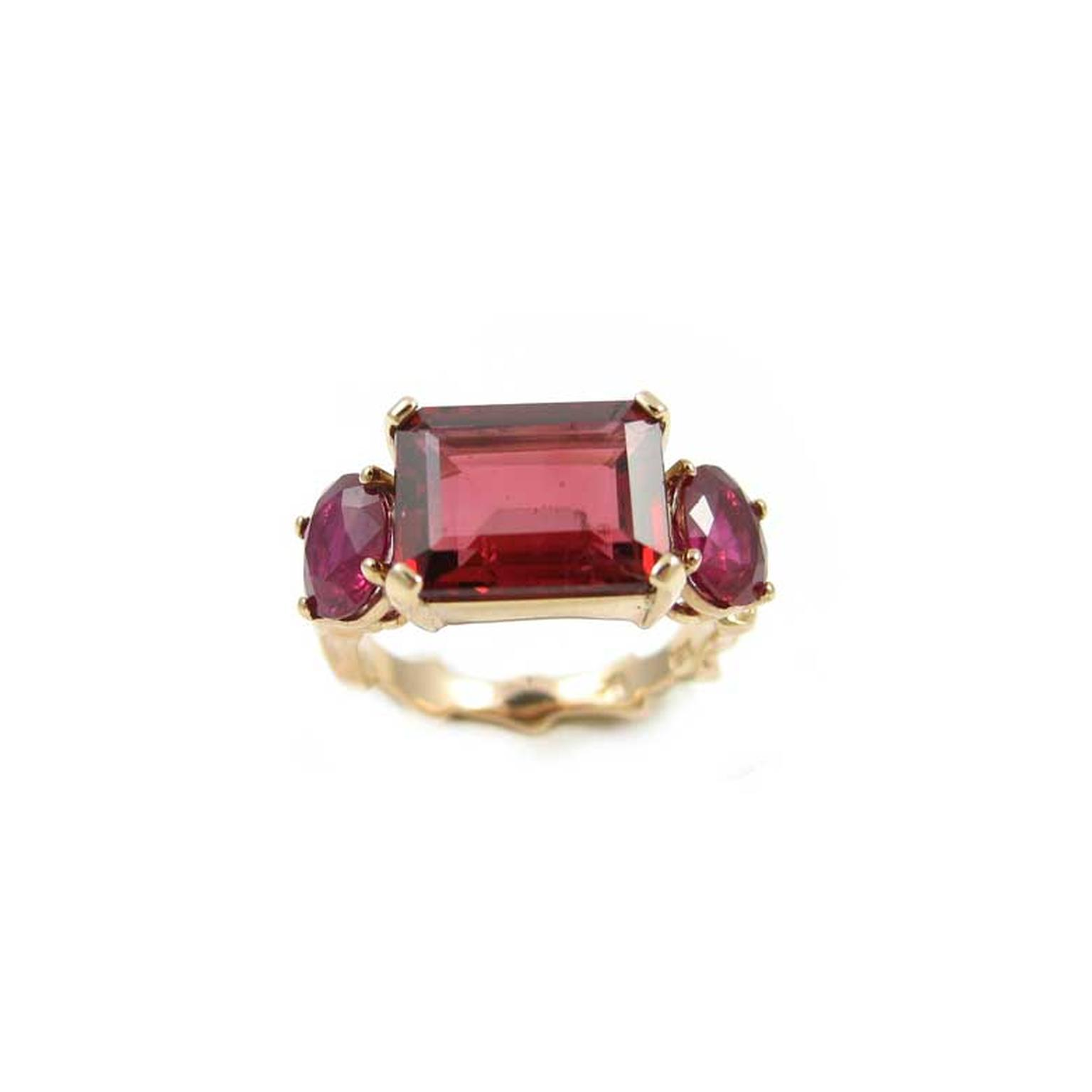 K Brunini red spinel engagement ring