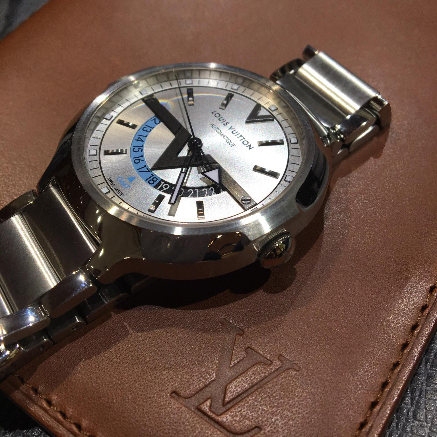 Louis Vuitton Voyager GMT watch in steel
