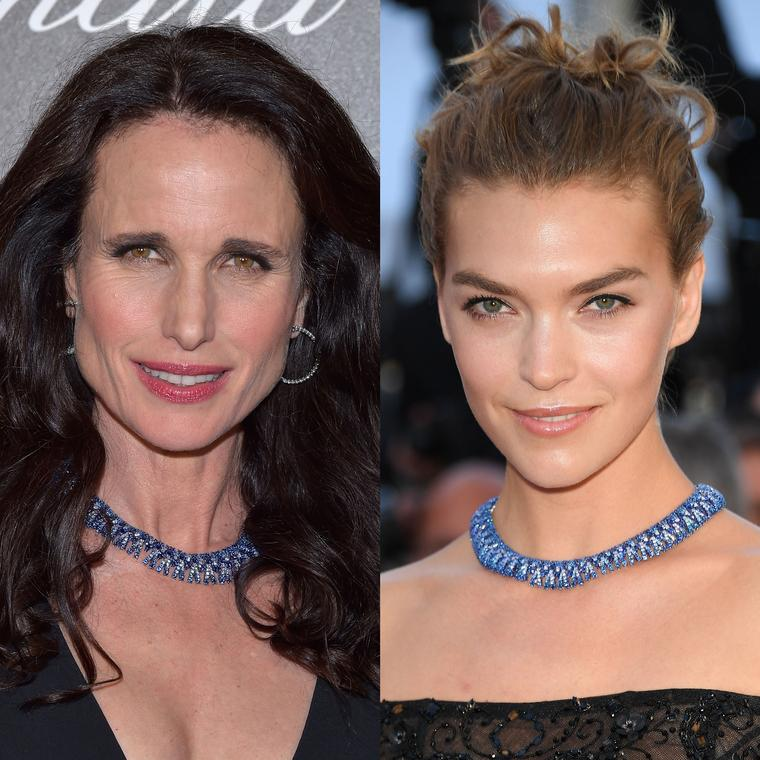 Andie MacDowell and Arizona Muse wear the same Chopard titanium necklace at the Cannes Film Festival