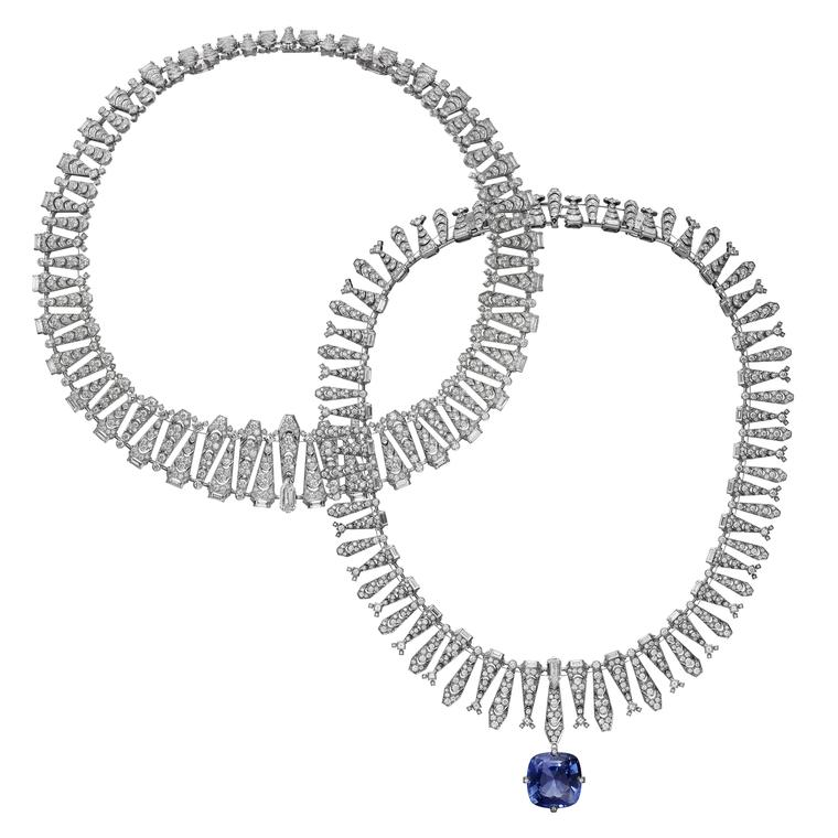 Cartier Magicien Incantation transformable diamond necklace with a detachable Ceylon sapphire