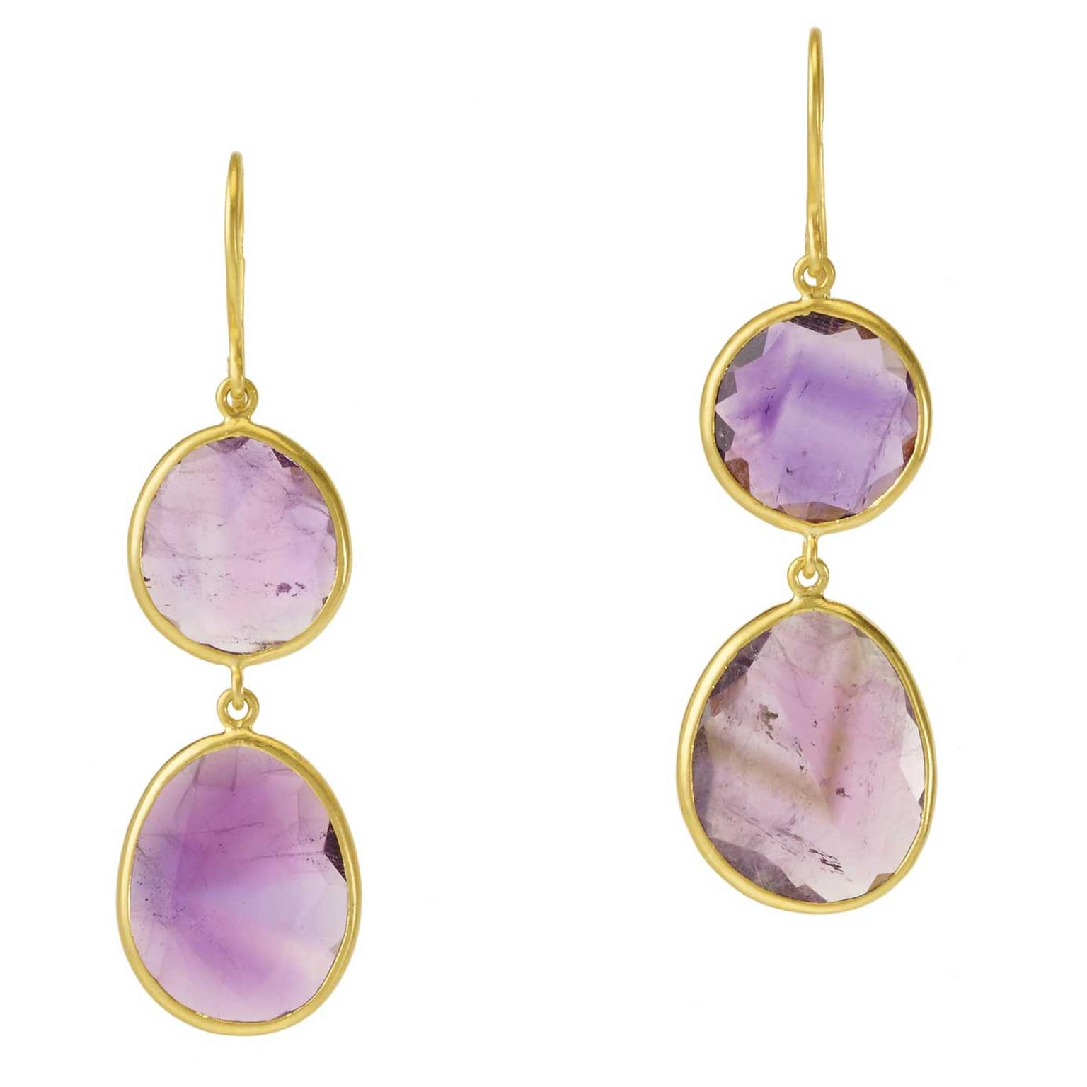 Pippa Small amethyst slice drop earrings