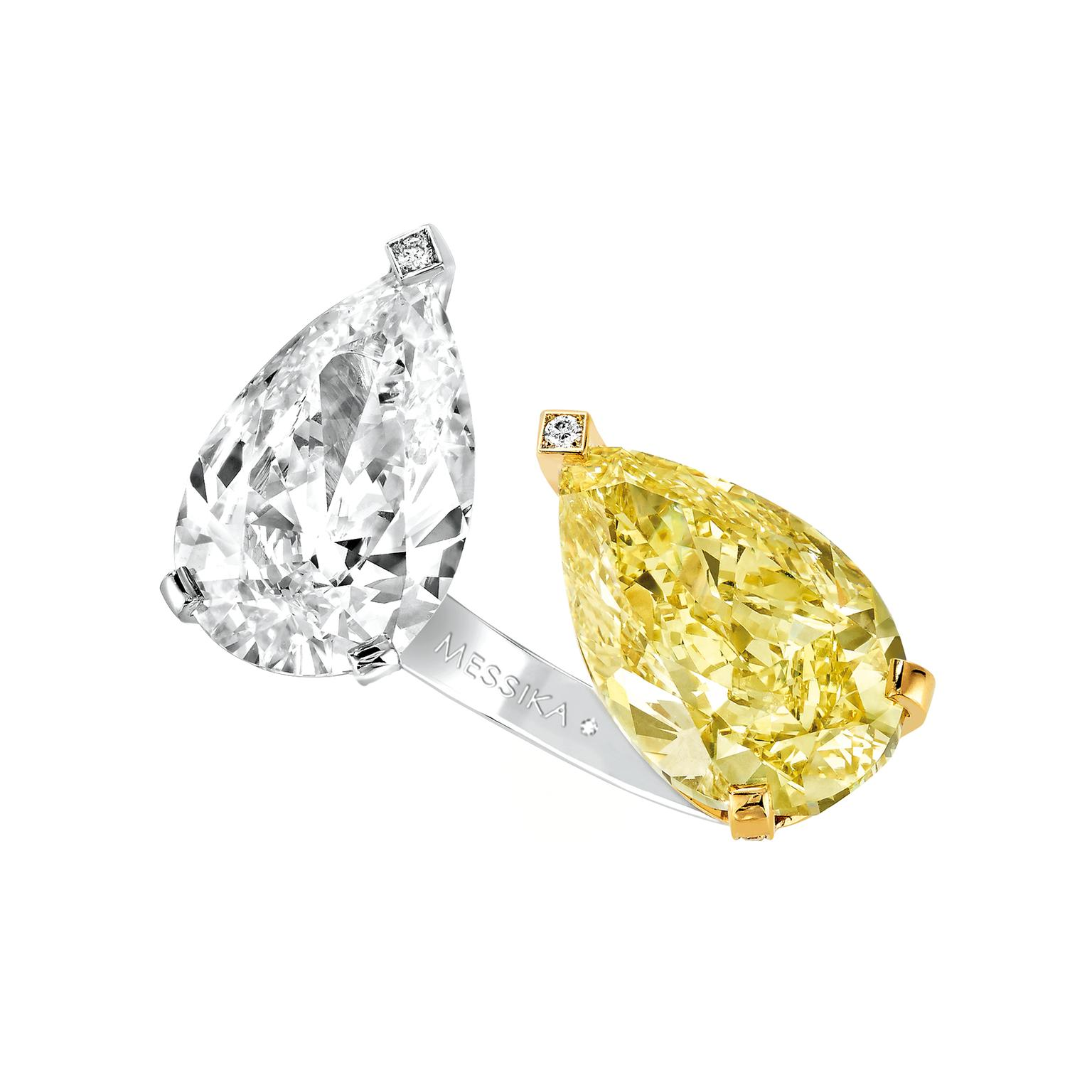 Messika yellow and white diamond toi et moi ring