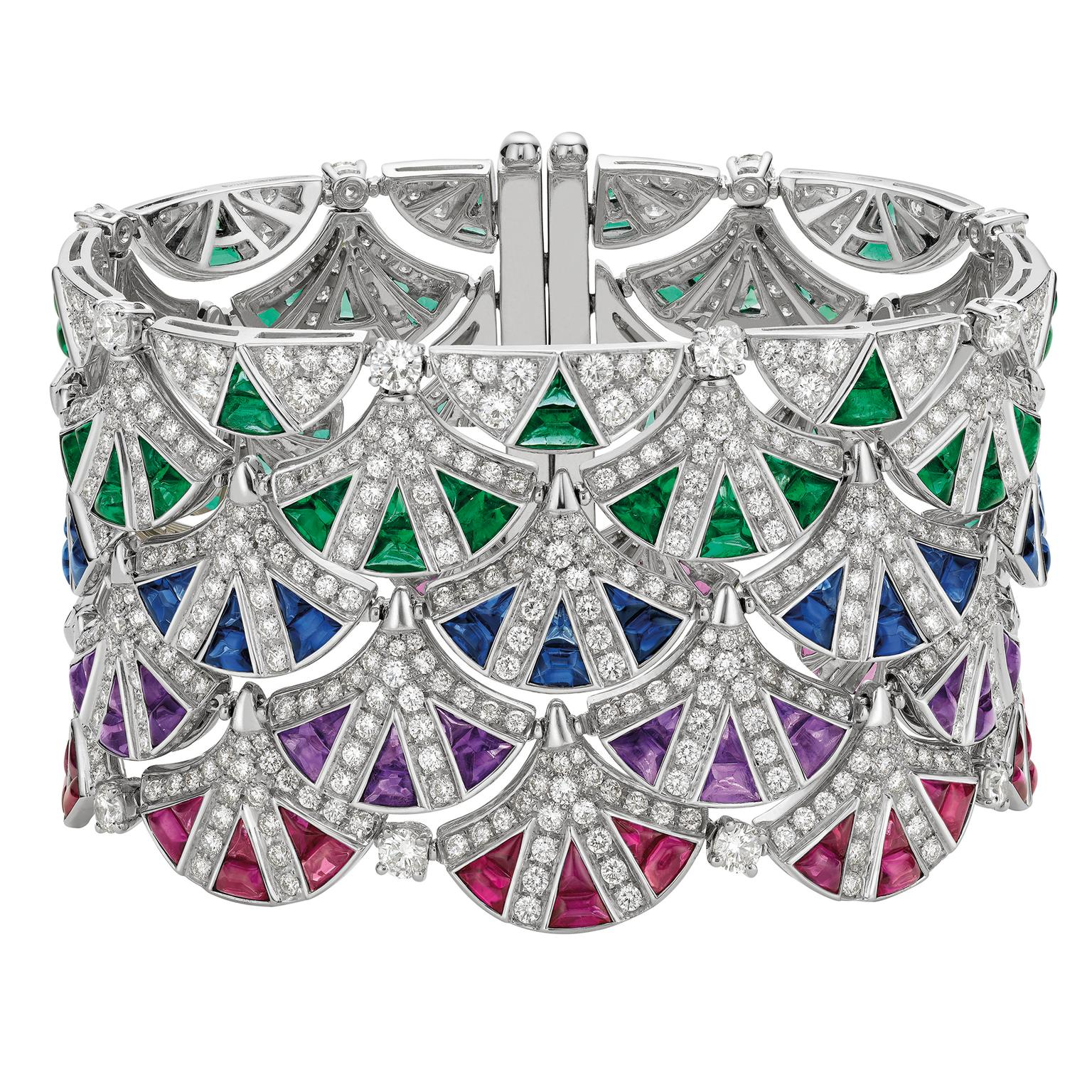 Bulgari sapphire, emerald and diamond cuff