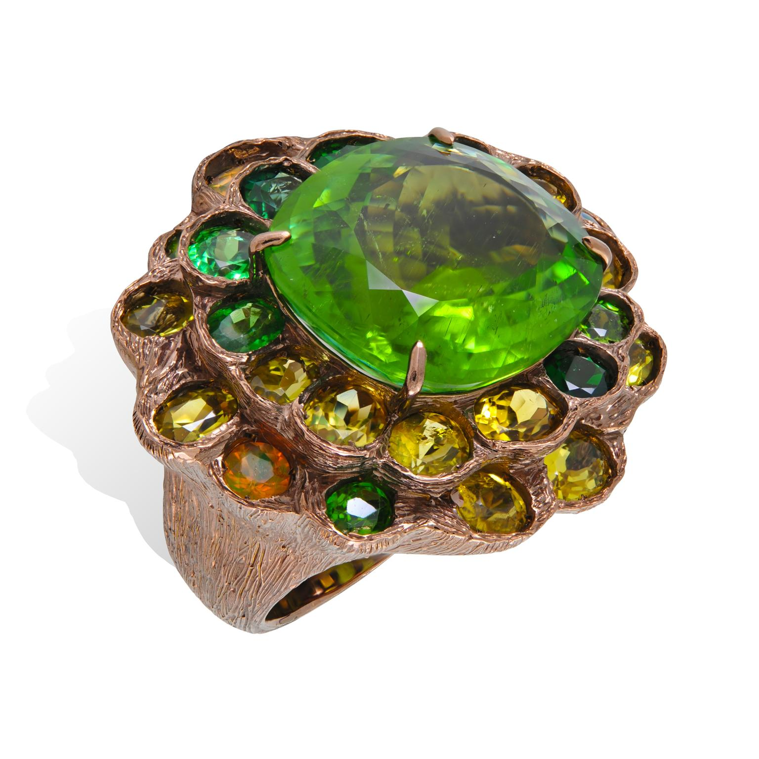 Lydia Courteille Queen of Sheba opal, tsavorite and tourmaline ring