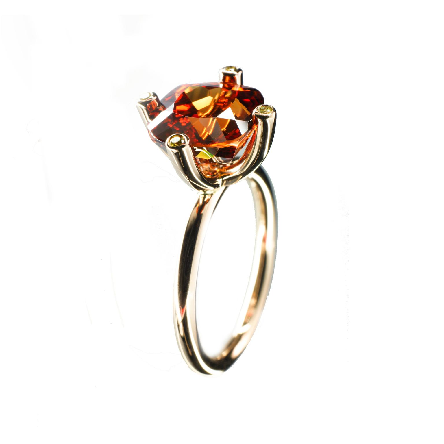 Cox + Power bespoke mandarin garnet engagement ring