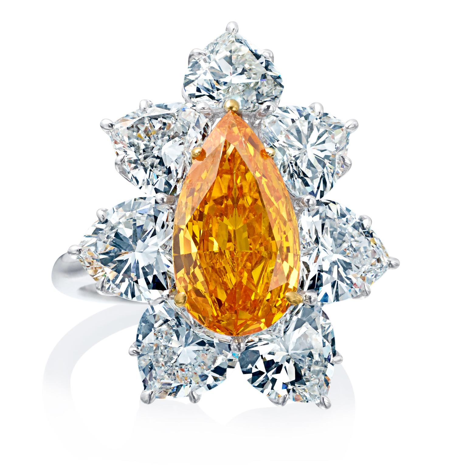Boodles 3 carat orange pear diamond ring