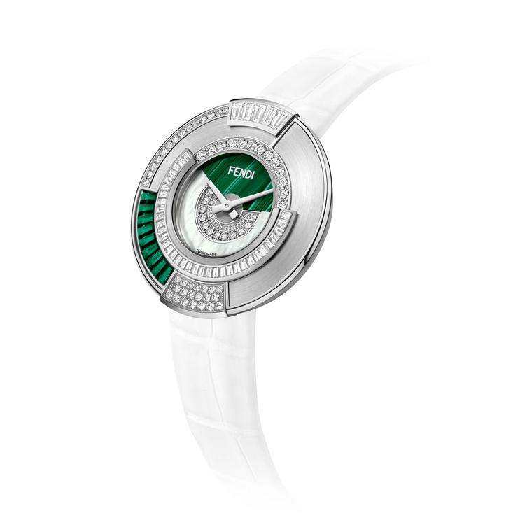 Fendi Policromia watch in white gold with emeralds, malachite and diamonds