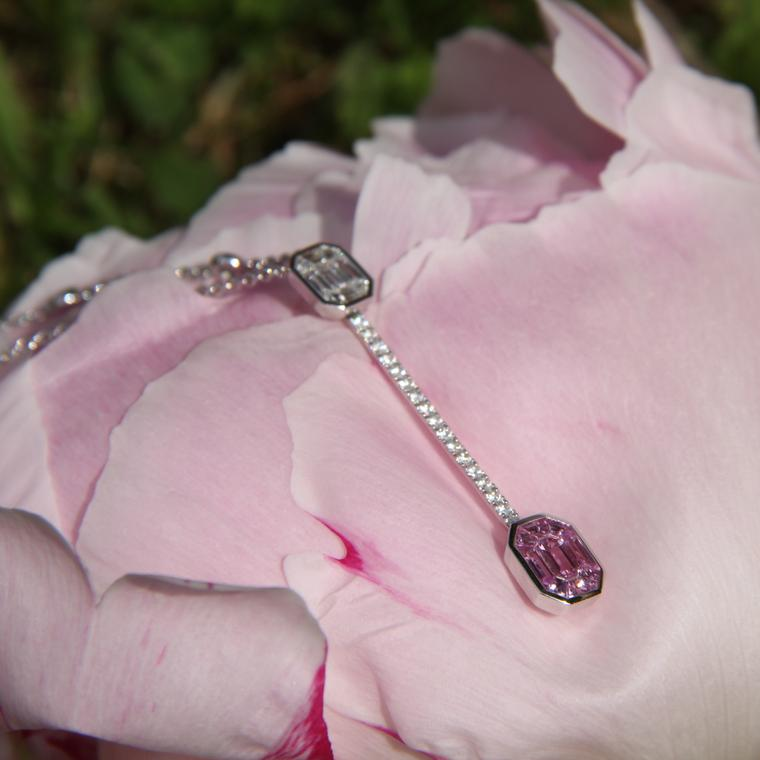 Stenzhorn Muse Pantoni pink sapphire and diamond necklace