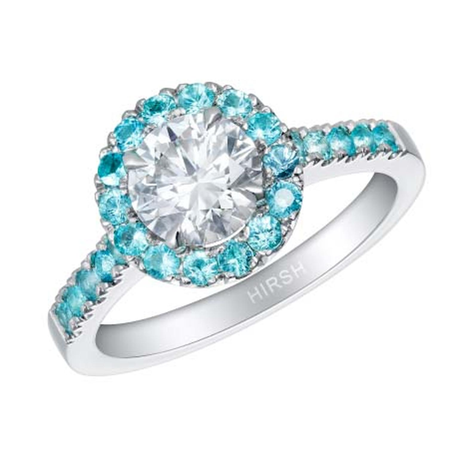 Hirsh round diamond and Paraiba tourmaline halo engagement ring