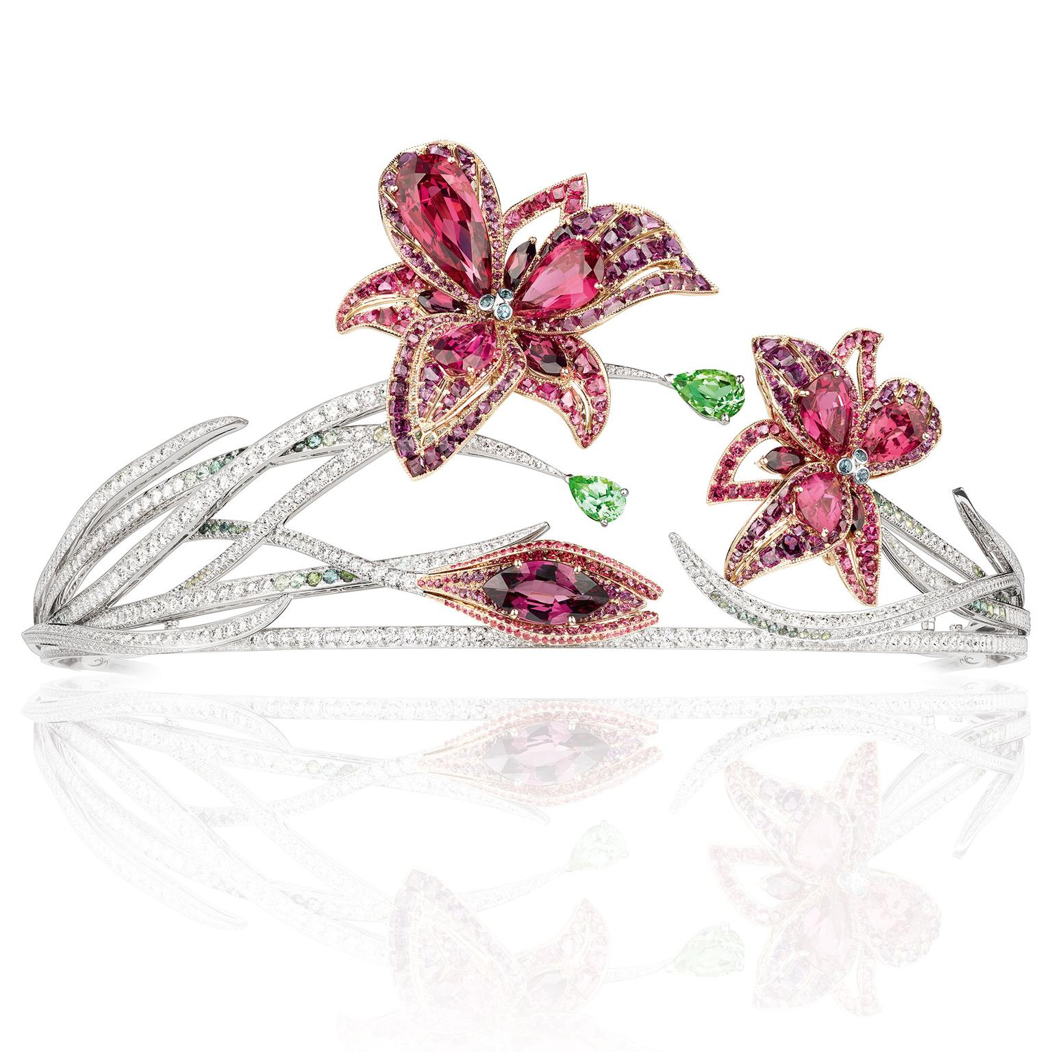 La Nature de Chaumet Passion Incarnat red spinel, garnet, tourmaline and diamond lily tiara
