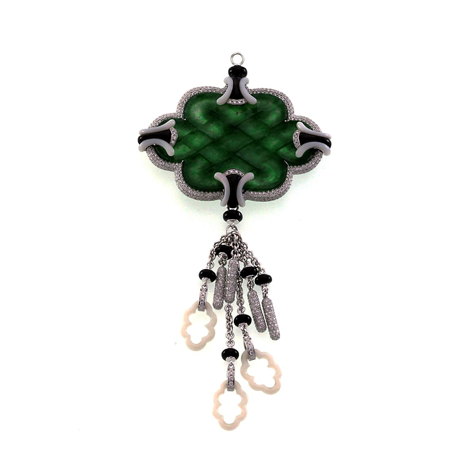 Edward Chiu jade and diamond pendant