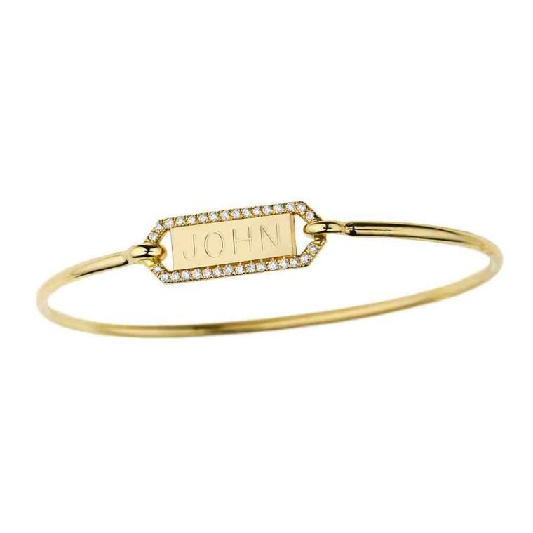 Personalized diamond rectangle bangle