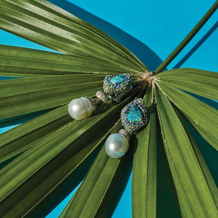 Margot McKinney baroque pearl and Australian opal earrings