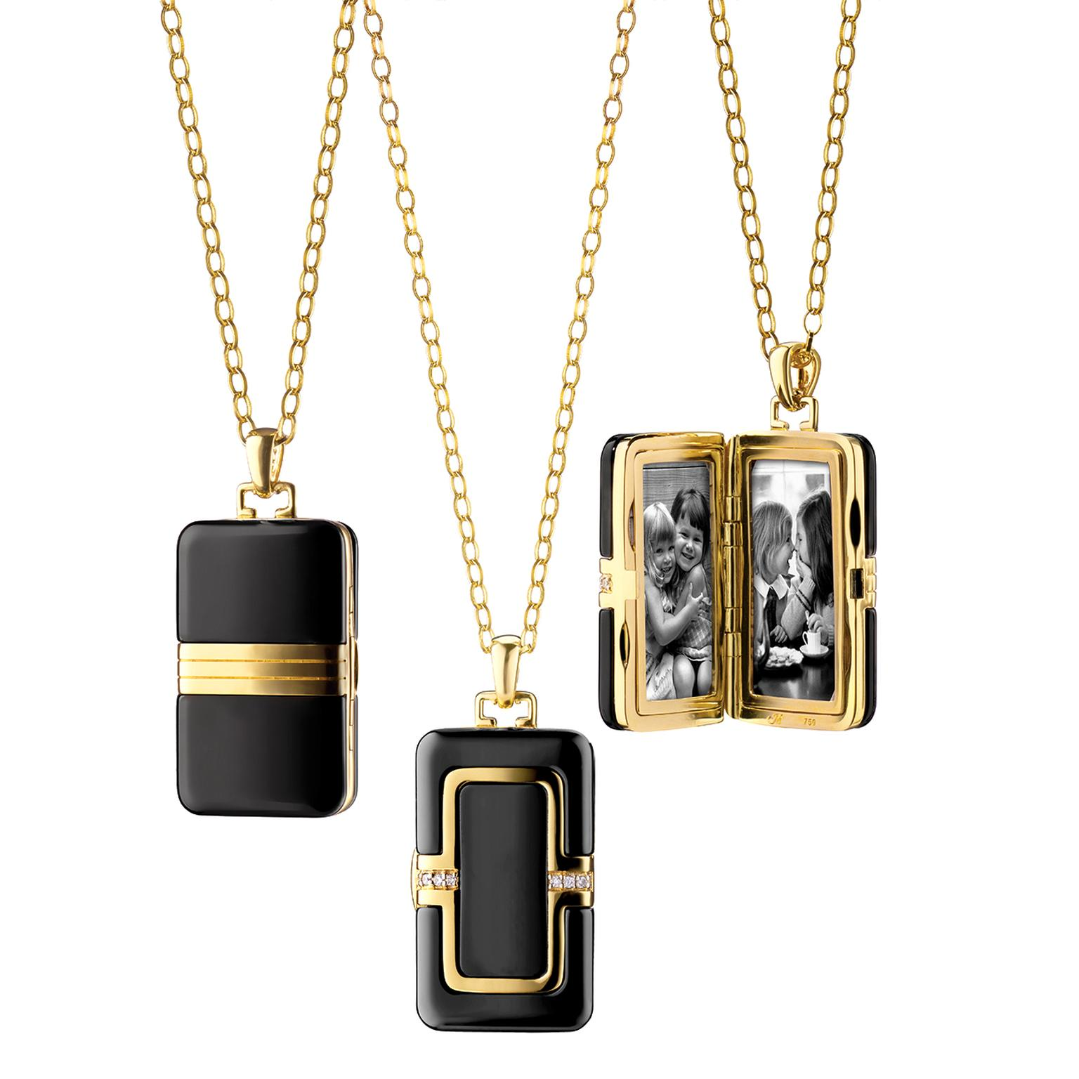Monica Rich Kosann locket in ceramic and yellow gold