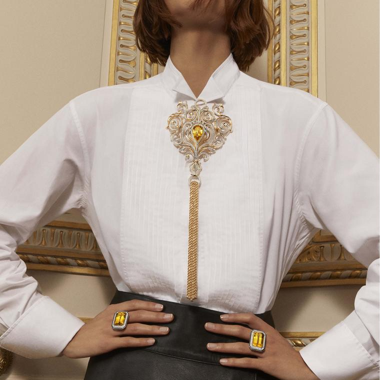 Boucheron Vu de 26 Armoire necklace on model