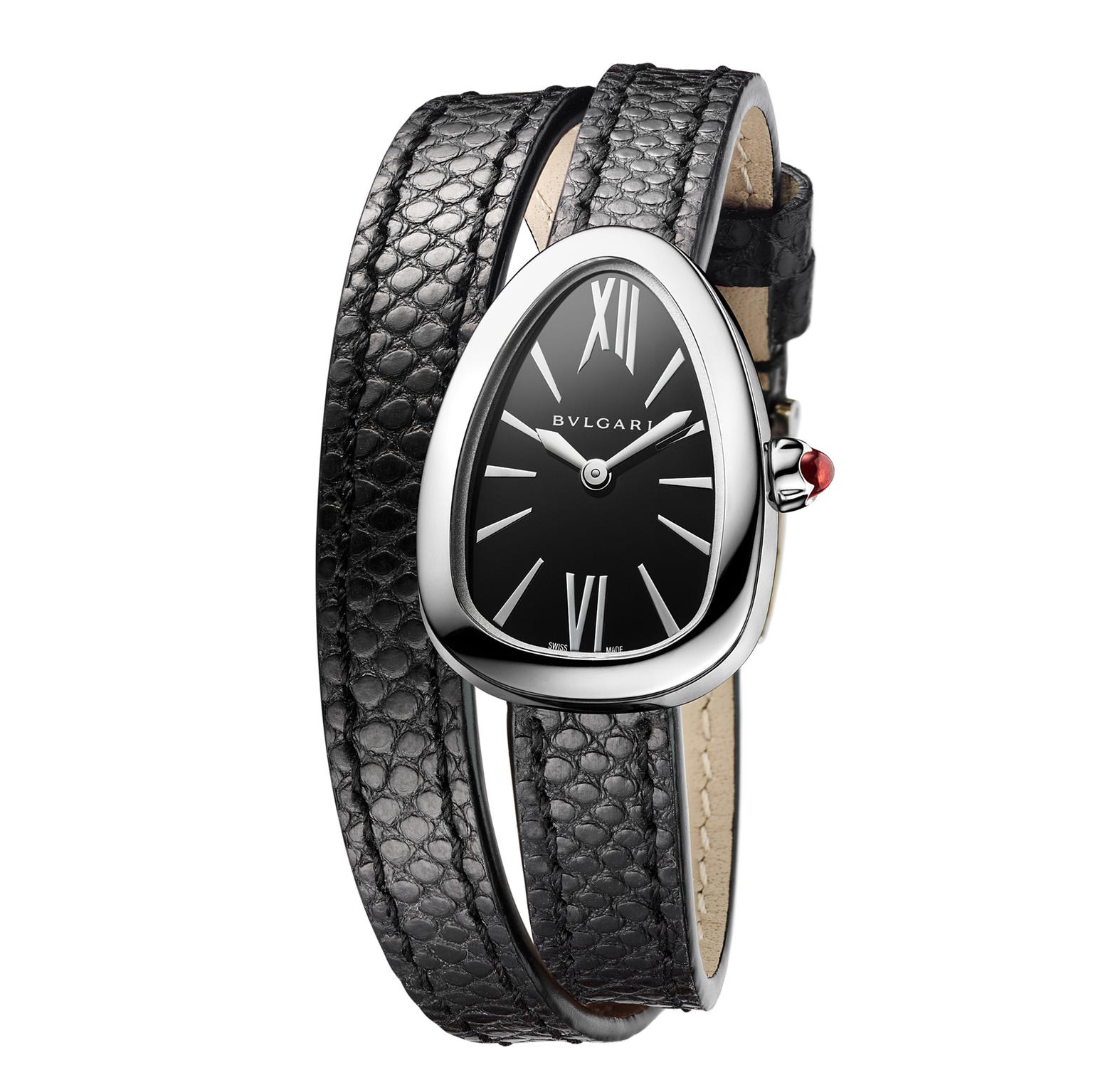 Bulgari Serpenti watch in steel with black dial