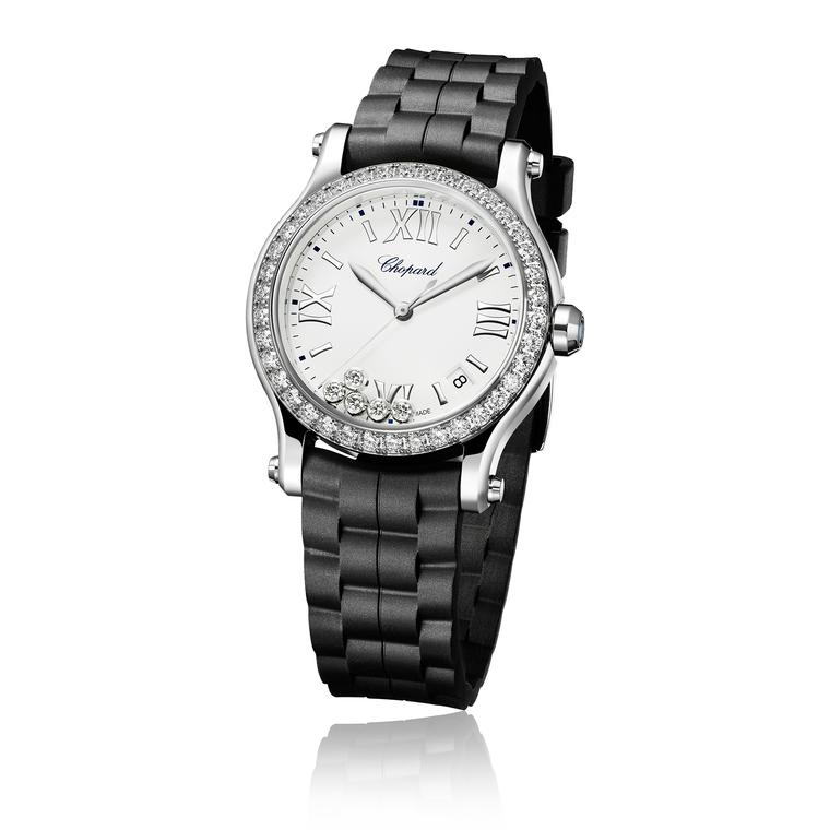Chopard Happy Sport watch with black strap and diamond bezel